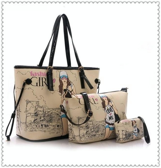 608fe6f52d07 3 sets women handbags with cartoon print lady one shoulder bag messenger  bags famous brands clutch leather oil printing girl bag