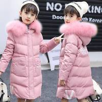 2019 girls winter coat long section thick Korean version of the big children girl cotton clothes casual tide