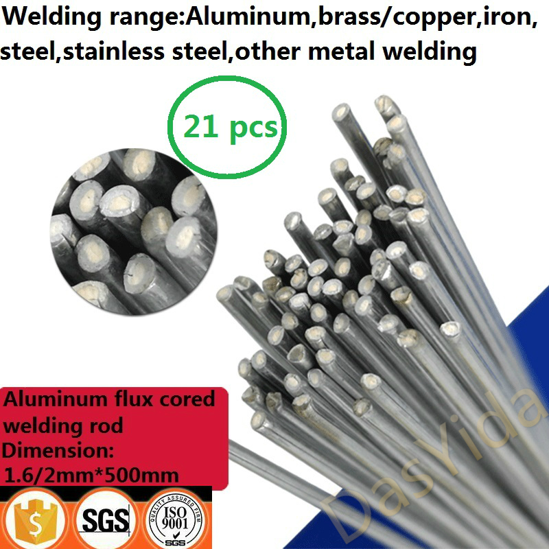 21 PCS 1.6/2mm*500mm Low Temperature Aluminum Flux Cored Welding Wire No Need Aluminum Powder Instead Of WE53 Welding Rod