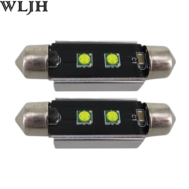 WLJH 4pcs Error Free 39mm 42mm <font><b>SV8</b></font>,5 C10W <font><b>Led</b></font> Chip 3535 Lamp Bulb Car Lighting Interior External Auto Light Source Canbus