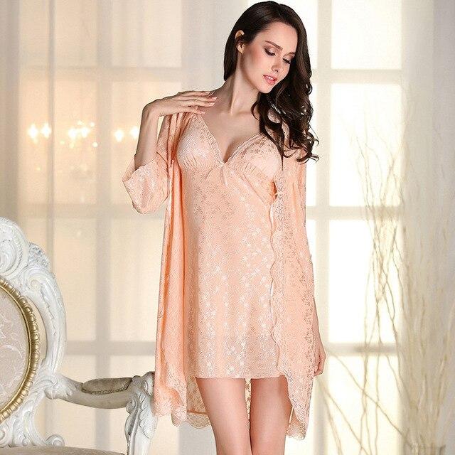 Любители Классический Кружева ночной халат с слинг пижамы Ночной Рубашке