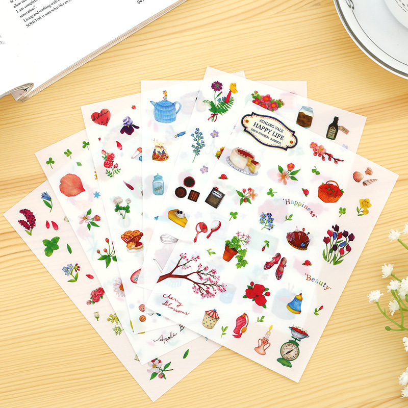 6 Sheets/set Sweet Happy Life Sticker Pet Diary Scrapbook Calendar Notebook Label Decoration Transparent Stickers