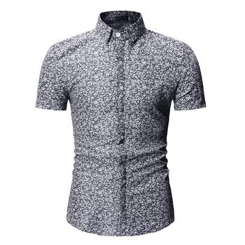 Fashion Floral Men's Shirts Casual Short-sleeved Blouse Men Flower Social Shirt for Male Summer Red Blue Black casual cotton short sleeved social shirt for men summer blouse men fashion plaid men s shirt hooded