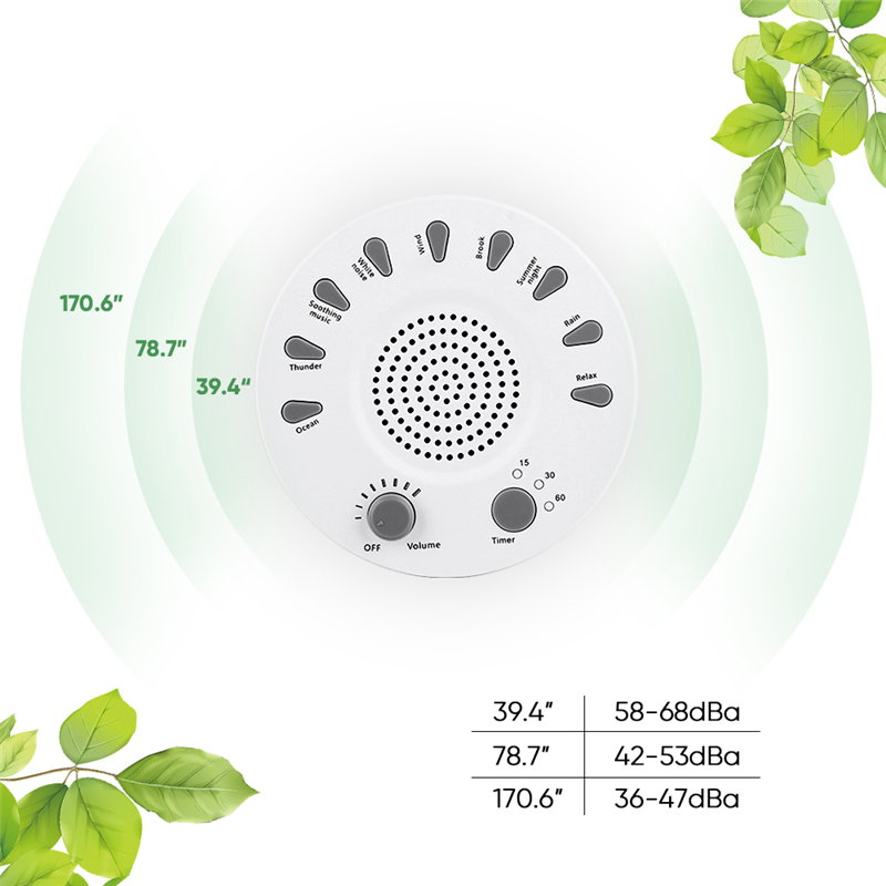 Portable White Noise Sound Machine Baby Light Sleep Therapy Regulator with 9 Plant Soothing Sound Baby Sleeping Monitor baby therapy sound machine white noise portable sleep soother machine record voice sensor soothing music sleep therapy regulator