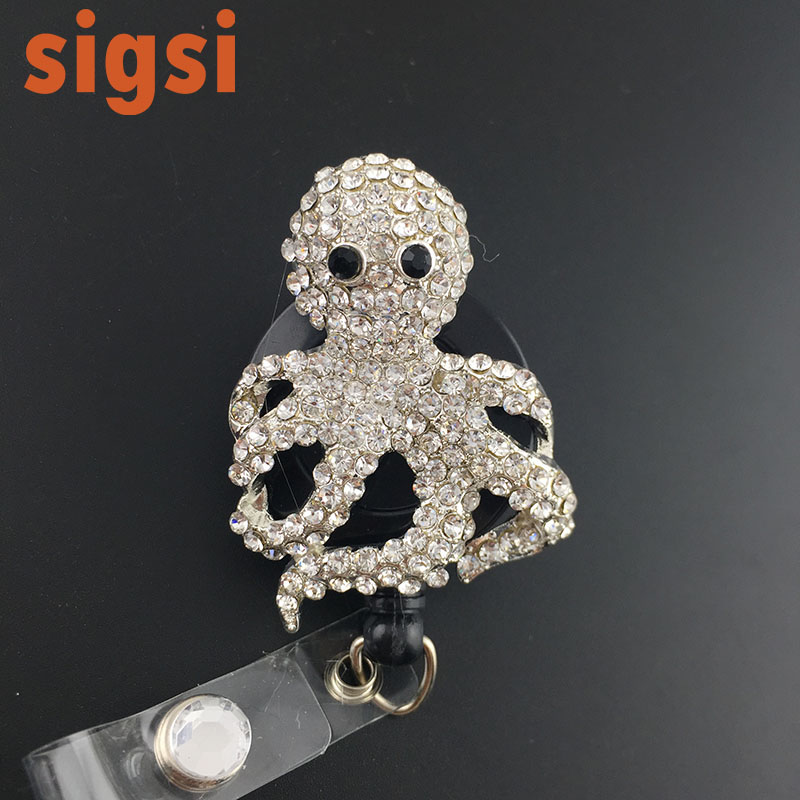Clear  Octopus Silver Bling Rhinestone  Decorated Identification Retractable Reel ID Holder with Blue Clip