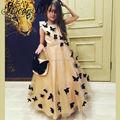 Арабский Шампанское Цветочница Платье Черная Бабочка Для Свадьбы Рождество Pageant Платья Бальные Платья Вечерние Платья Для Детей