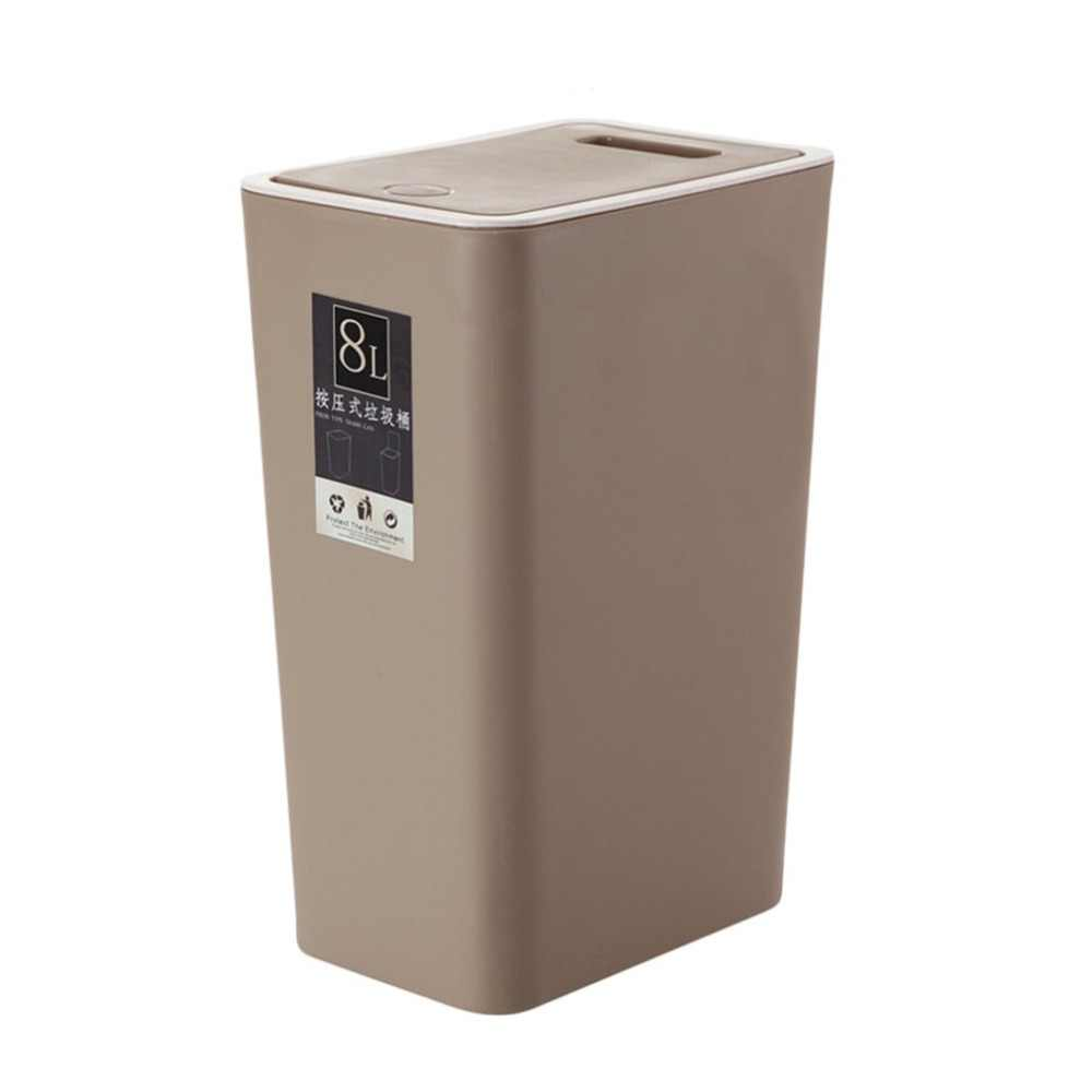 8L Plastic Trash Can Pressing Cover Home Kitchen Office Waste Bin Basket