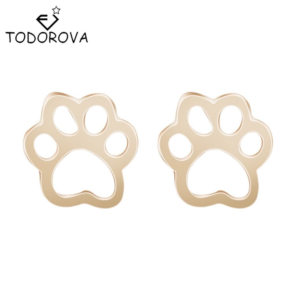 Todorova Cute Dog Cat Paw Earrings Tiny Bear Print Animal Christmas Piercing Statement Jewelry Stud Earrings Women Accessories
