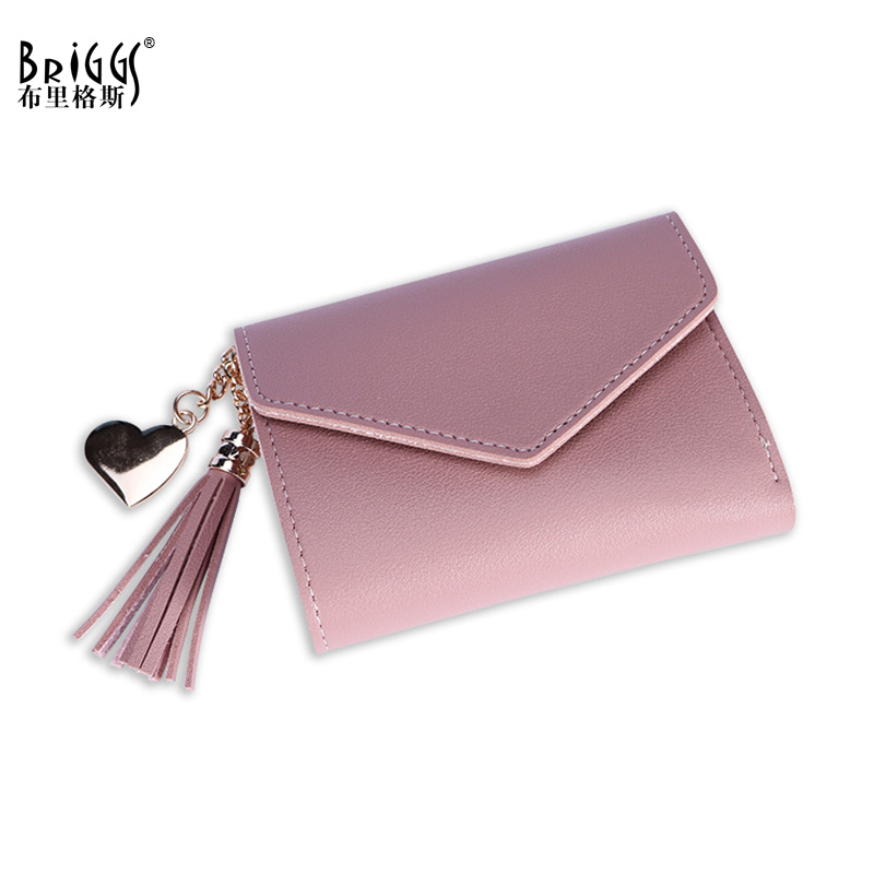 Fashion Tassel Women Leather Wallet Casual Lady Multifunction Short Wallets Change Clasp Purse Female Clutch Cartera Mujer