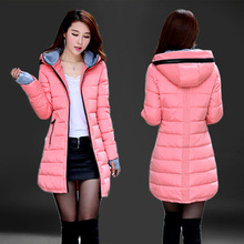 2016 New Women Winter Coat fashion slim long sleeve hooded thick cotton padded jacket woman pink