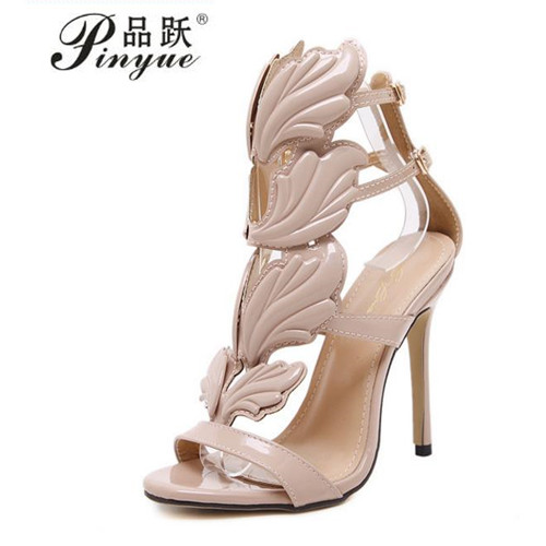 Sexy women open toe sandals leaf flame cut outs high heels gladiator sandals party shoes woman wings stiletto heel pumps dongcitaci new winged women pumps gladiator high heels sandals shoes woman sexy cut outs flame stilettos star sandals size 35 40