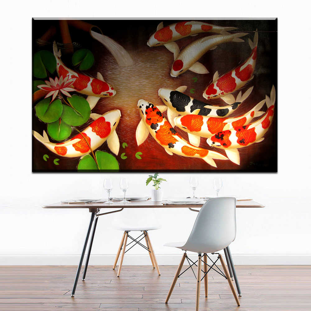 XX685 Koi Fish Wall Art Chinese Painting Wall Art on Canvas Home Decor Modern Wall Picture for Living Room