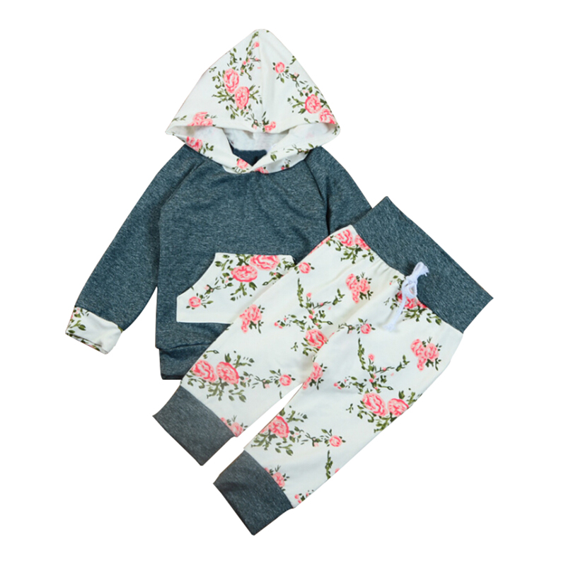 KEOL Best Sale Floral Newborn Baby Girl Hooded Tops Long Pants Leggings Clothes Outfit Set Size:0-6 Months