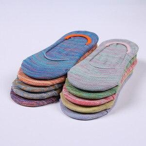Image 4 - Calcetines invisibles de algodón para mujer, calcetín antideslizante, transpirable, colorido, Primavera, novedad de verano