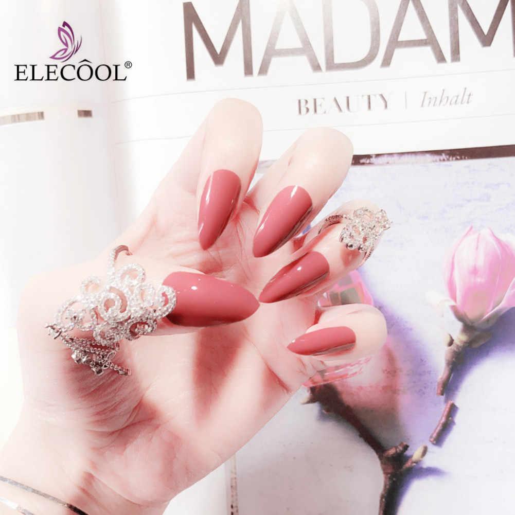Накладные ногти ELECOOL, 6 цветов, чистый искусственный 3d лак для ногтей, Длинные накладные ногти, накладные ногти, 24 шт., аксессуары для дизайна ногтей