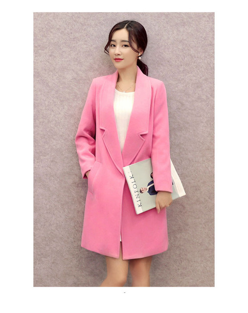 2016 autumn winter Fashion pure Cotton plus size s-2XL woollen coats single button 4 colors Medium Style Slim woman trenth H21
