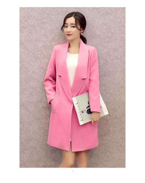 2016 otoño invierno Moda de lana de Algodón puro más el tamaño s-2XL abrigos botón único 4 colores Estilo Medio Delgado mujer trenth H21