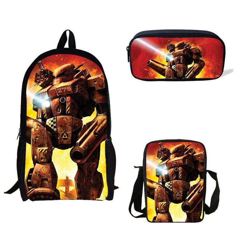 3 ps/ensemble sac d'école jeu Battletech imprimé sac à dos Mini garçons unique sac à bandoulière sac à crayons sac d'école pour enfants cadeau