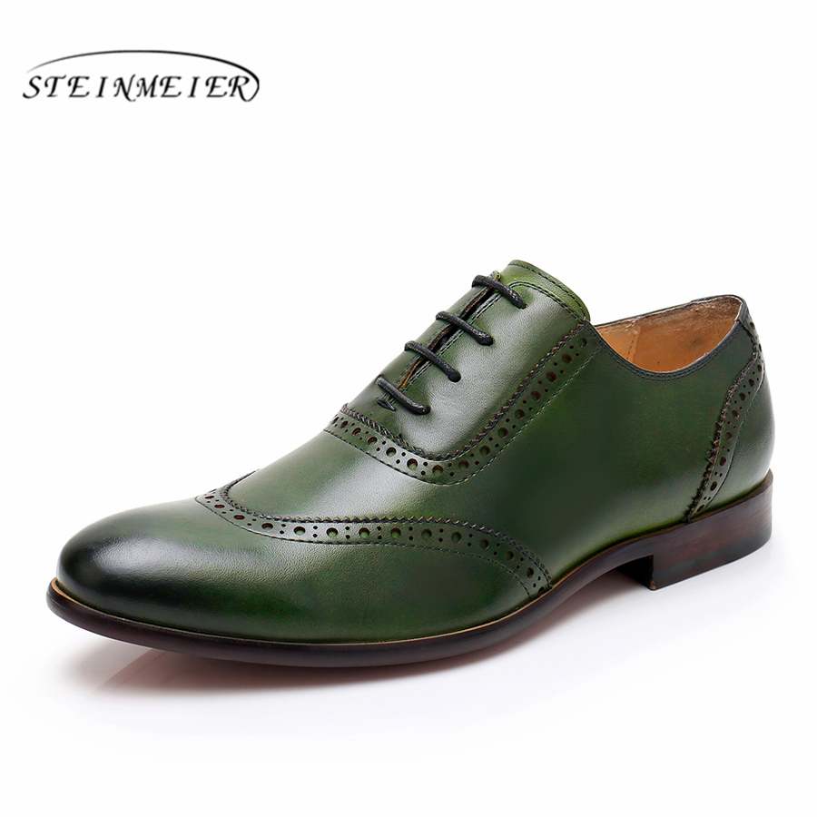 Fine 100% Genuine Cow Leather Brogue Yinzo Mens Wedding Flats Shoes Vintage Handmade Sneaker Oxford Shoes For Men Red Green Blue Quality First Formal Shoes
