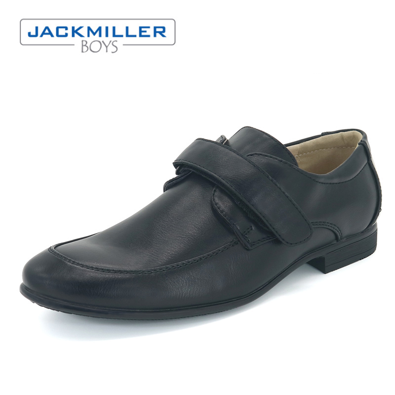 Jackmillerboys School students Shoes boys Black dress flats hook loop black PU Leather kids rubber outsole size 36-39