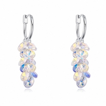 2 Colors Austrian Crystals From Swarovski 18K White Gold Plated Fashion Geometric Dangle earrings for women New 120943CrystalAB