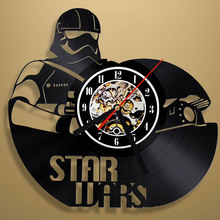 Free Shipping 1Piece 12 Inch STAR WARS Stormtrooper Vinyl Wall Clock Vintage Personalized Time Clock LP Vinyl Record Wall Clock