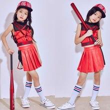 Etapa de los niños Dancewear niños hip-hop danza Jazz traje para las niñas  rojo danza moderna rendimiento ropa del desgaste del . 5831020a220