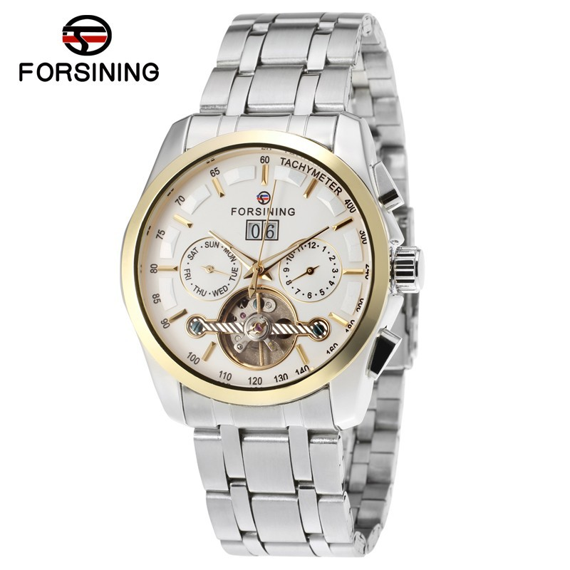 FORSINING Luxury Watches Men Day/Month Tourbillion Automatic Mechanical Watch Wristwatch Gift Box Free Ship [expensive] supply truck rather tight rope tensioner tied up with tight rope tied with wholesale