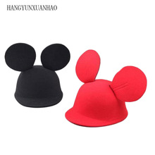 Parent-child Fashion Cute Cats Mouse Big ears Hat Dome Flanging Women Bowler Cap Stage Performance Headdress Fedoras