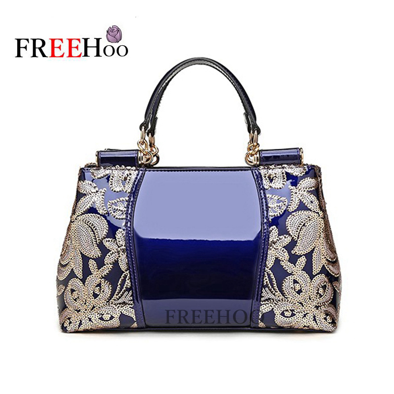 Europe bags for women 2018 fashion sequin embroidery Luxury patent pu leather famous brands designer handbag shoulder bag europe women bag women leather handbags pu handbag leather patent handbag