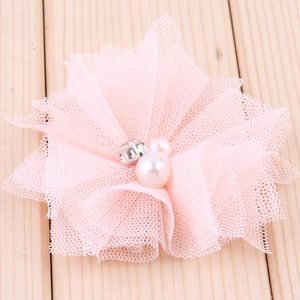 Image 3 - 120pcs/lot 6.5cm 18colors DIY Soft Chic Mesh Hair Flowers With Rhinestones+Pearls Artificial Fabric Flowers For Kids Headbands