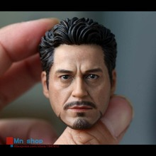 1/6 Figure Head Shape for 12″ Action Figure Doll Iron Man Tony Robert Downey Jr. Head Sculpt 3.0 for HT Body