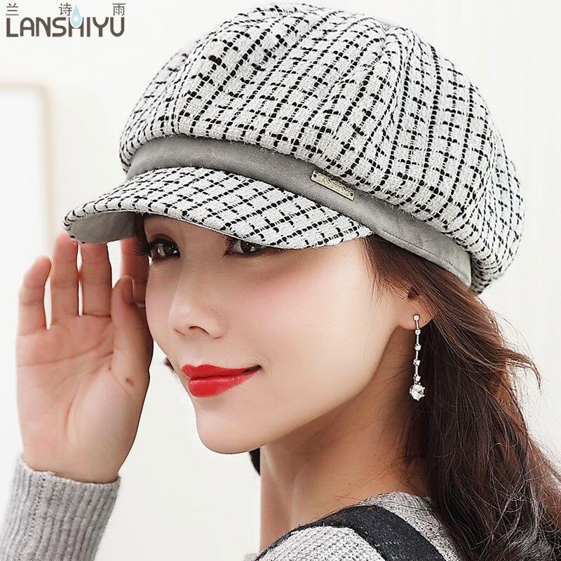 Spring Autum Winter Vintage Wool Knitted Beret Caps For Women 2017 Artist Casquette Church Hats Elegant
