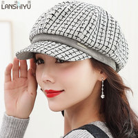 Spring Autum Winter Vintage Wool Knitted Beret Caps For Women 2017 Artist Casquette Church Hats Elegant