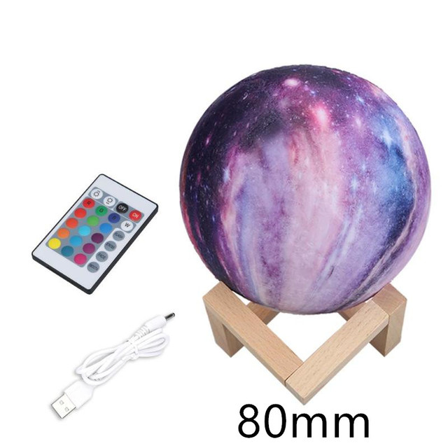 16 Colors Night Light 3D Print Star Moon Lamp Colorful Change Planet Lamp Home Decoration Creative Gift Starry Sky Space Lamp 1