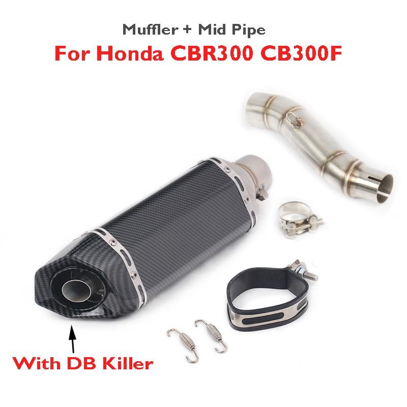CBR300 CB300F CB300R Motorcycle Slip on Muffler Silencer Escape Mid Link Connect Tube for Honda