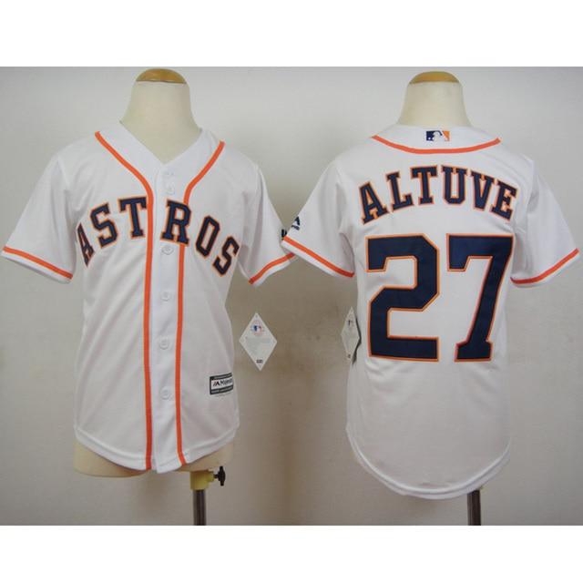 Youth Houston Astros Altuve 27 White Jersey Throwback Baseball