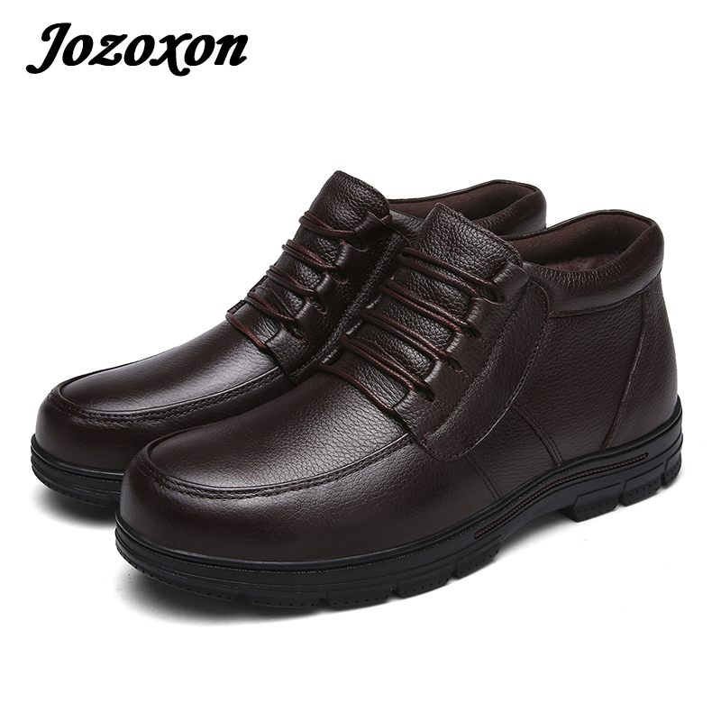 Jozoxon 17 Top Layer Leather Shoes Cotton-padded Shoes Winter Men Shoes Snow Boots Cotton Warm Shoes Non-Slip Footwear Size36-47 big size 46 men s winter sneakers plush ankle boots outdoor high top cotton boots hiking shoes men non slip work mountain shoes
