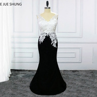 E JUE SHUNG White Lace And Black Mermaid Evening Dresses Long 2018 Backless Evening Gowns Formal Dresses robe longue