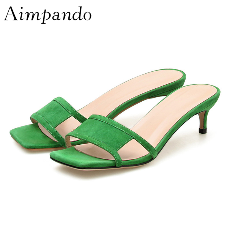 Chic Summer 2019 Green Suede Slippers Women Med Thin Heels Square Toe Open Toes Cut outs