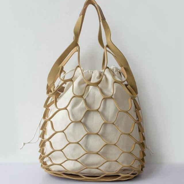 New Arrival Hollow Out Mesh Bags Women Bucket Composite Handbags Leisure Large Beach Cavas