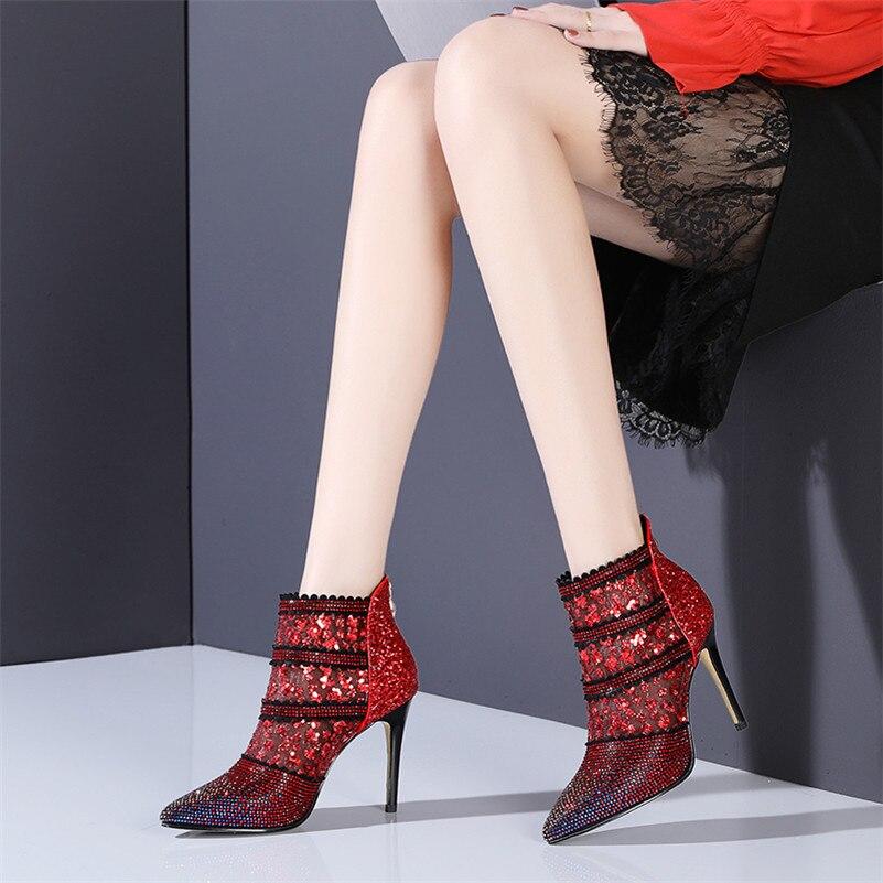 Malla Boda Rojo Ver Través Verano Mujeres Tacones Scarpe Zapato Llegada Bling Tobillo A blanco Mujer Strass Sexy Buono De Nueva Botas fHqXpnfS7x
