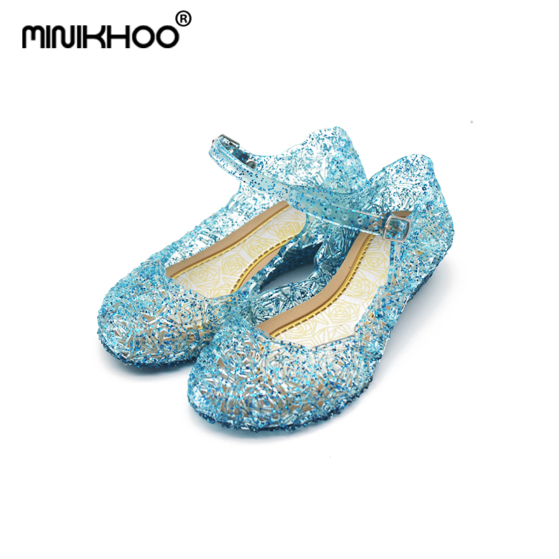 Mini Melissa Snow Princess Crystal Sandals Hollow Mini Melissa Jelly Sandals Breathable Melissa Baby Crystal Shoes 15.5cm-20.5cm