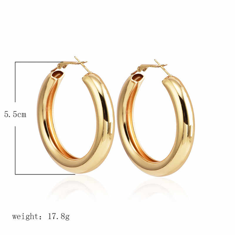 IF YOU Fashion Gold Color Punk Hoop Earrings For Women Bohemian Wide Big Round Statement Earring Vintage Jewelry Wholesale New