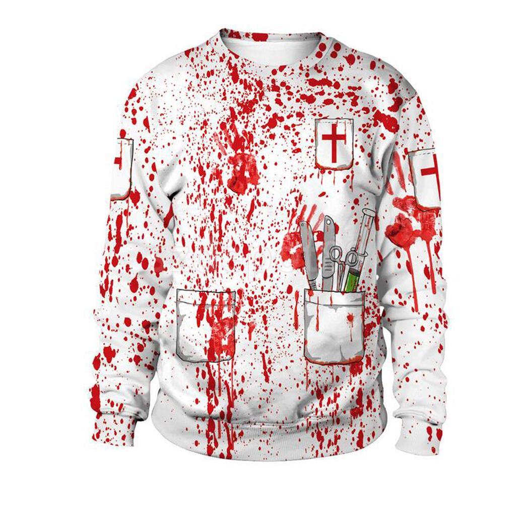 Horror Doctor Bloody Fleece Hoodie Sweatsuit O Neck Pullover Halloween Costume Woman Ladies Fancy Dress
