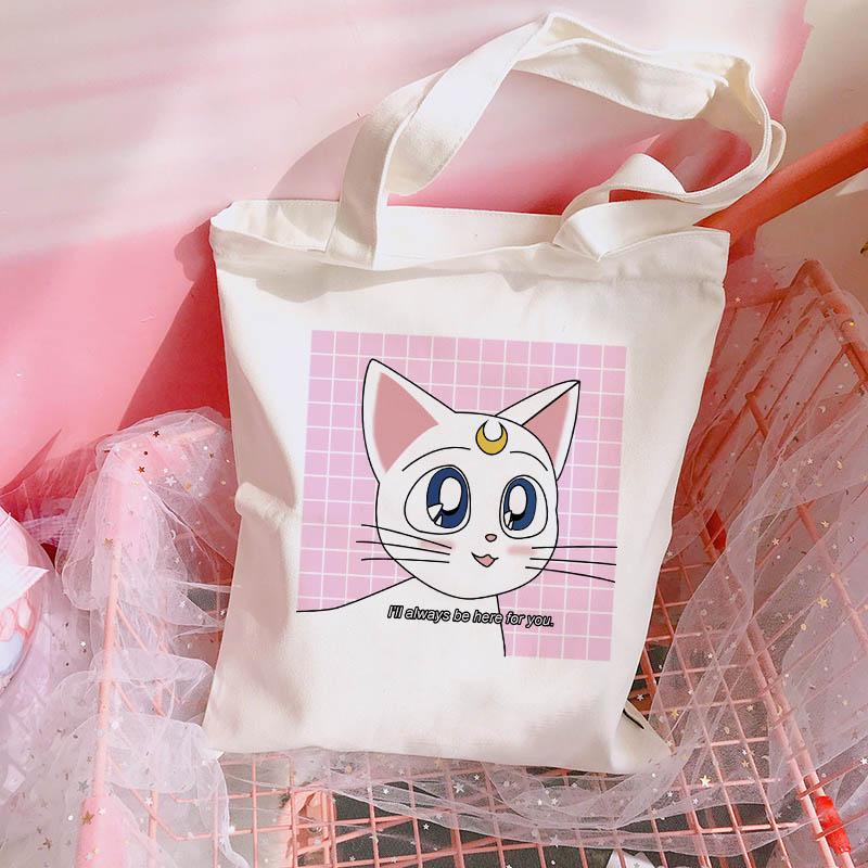 Sailor Moon Cat Tote Bags Shop Original Sailor Moon Cat Tote Bags. Inspired by Luna And Artemis Cat.