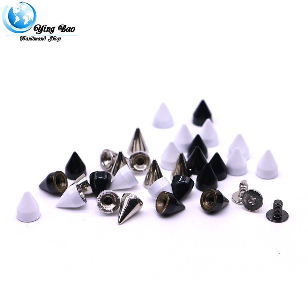 50sets/pack 7mm (Diameter), 10mm (Height)  5 Colors dog collars diy 10mm silver bullets B-01