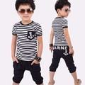 Free Shipping Hot Sale 2pcs / Set Kids Cotton Baby Polo Suit Boys Short Sleeve Shirt Pant Sport Clothes Children Stripe Clothing