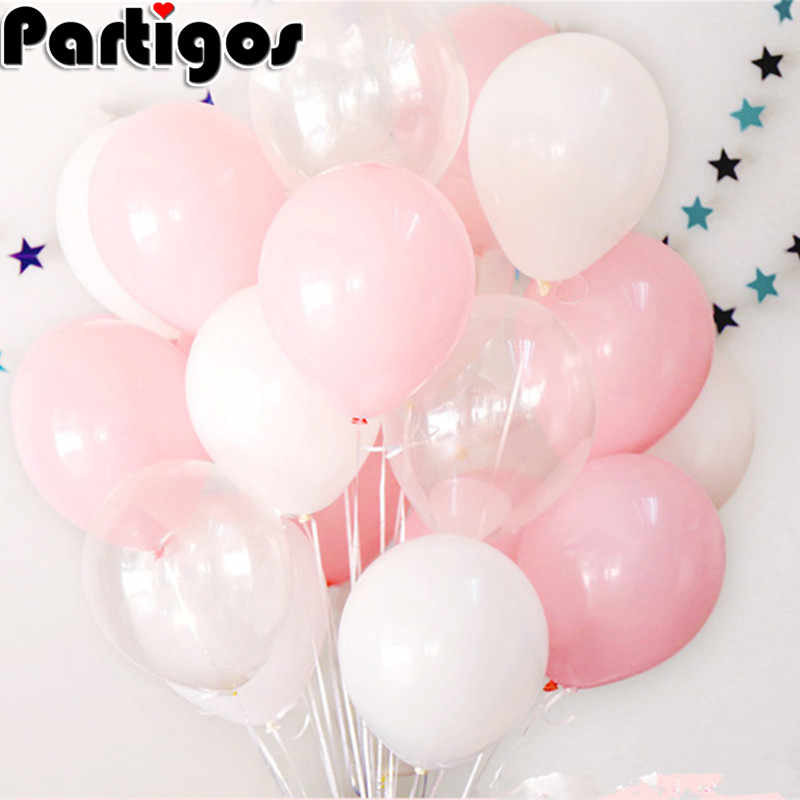 12pcs 2.3g 12inch Pink White Transparent Balloons Latex Helium Happy Birthday Party Supplies Baby Shower Wedding Decor Balls