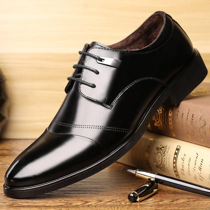 OSCO Warm Fur Business Dress Men Formal Shoes Wedding Roud Toe Fashion Leather Shoes Flats Oxford Shoes For Men